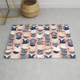 Swedish folk cats V // flesh background Rug