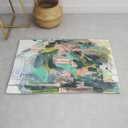 Connect: a vibrant acrylic abstract in neon green, blues, pinks, & hints of orange Rug