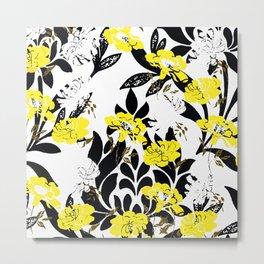 DAMASK PATTERN BLACK WHITE YELLOW TOILE Metal Print