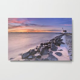 The lighthouse of Marken in The Netherlands at sunrise Metal Print