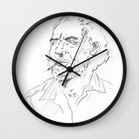 bukowski Wall Clocks featuring Charles Bukowski Portrait by Aliki Pdt