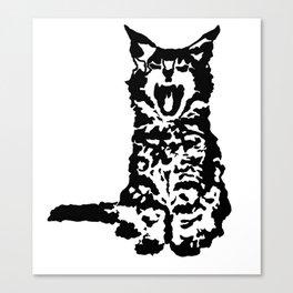 Screaming Kitten (Black & White) Canvas Print