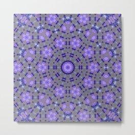 Blue Glow Mandala Motif Metal Print