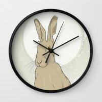 hare Wall Clocks featuring Hare by Stu Jones