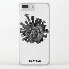 Seattle, Washington Black and White Skyround / Skyline Watercolor Painting Clear iPhone Case