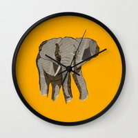 newspaper Wall Clocks featuring Newspaper Elephant by Doolin