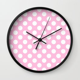 White polkadots dots polkadot circles on pink #Society6 Wall Clock
