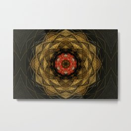 Red and Gold Kaleidoscope Metal Print