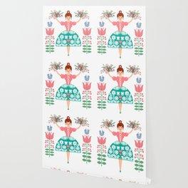 Scandinavian Flower Princess Wallpaper