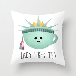 Lady Liber-tea Throw Pillow