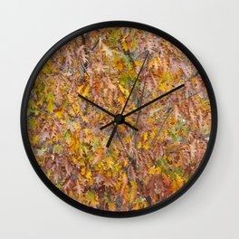 Oak tree leaves in fall season Wall Clock