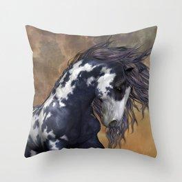 Storm, wild horse, fantasy Throw Pillow