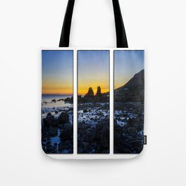 Sunset Through The Rocks Tryptych Tote Bag
