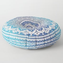 Teal And Aqua Lace Mandala Floor Pillow