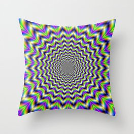 Psychedelic Star in Yellow Pink Blue and Green Throw Pillow