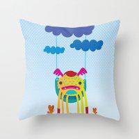 monster Throw Pillows featuring Monster by Maria Jose Da Luz