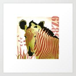 Funky Zebra Style  No1 Art Print