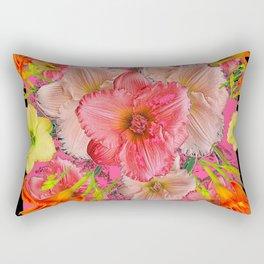 YELLOW PINK & CREAM DAYLILIES BLACK GARDEN Rectangular Pillow