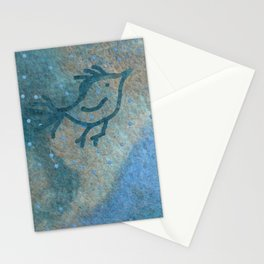 Primitive bird flying over a stream of wool in a rainy day Stationery Cards