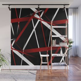 Seamless Red and White Stripes on A Black Background Wall Mural