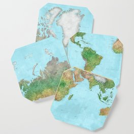 Watercolor physical world map (high detail) Coaster