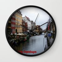 copenhagen Wall Clocks featuring Nyhavn, Copenhagen  by Created by Eleni