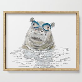 Hippo with swimming goggles Serving Tray