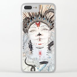 Day of the Dead Portrait Sugar skull with Moth and insect Clear iPhone Case