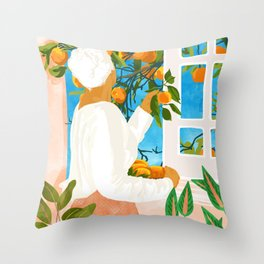 A Few Bad Oranges Is No Reason Not To Bring The Grove Home #painting Throw Pillow