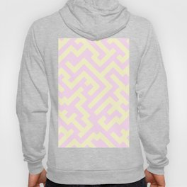 Cream Yellow and Pink Lace Diagonal Labyrinth Hoody