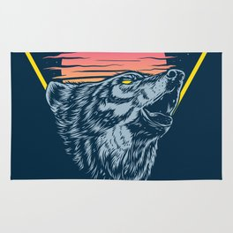 The Lone Wolf Howls at Sunset Rug