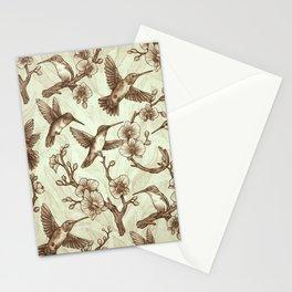 Sepia Hummingbird Pattern Stationery Cards