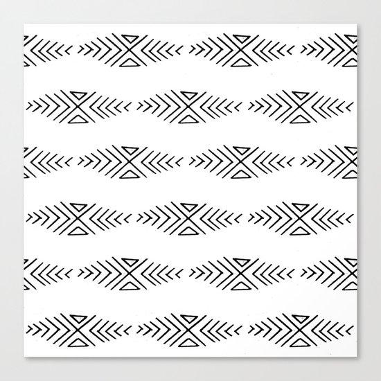 mudcloth 11 minimal textured black and white pattern home decor minimalist beach Canvas Print