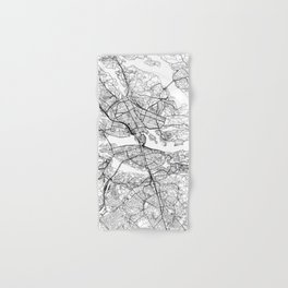 Stockholm White Map Hand & Bath Towel