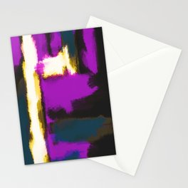 white pink and blue painting texture abstract with black background Stationery Cards
