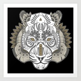 Zentangle Tiger 02  Art Print