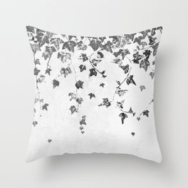 Hand Printed Black and White Trailing Ivy Throw Pillow