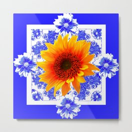 DECORATIVE COBALT BLUE SUNFLOWER FLORAL ART Metal Print
