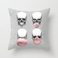 skulls Throw Pillows featuring Skulls chewing bubblegum by Piotr Burdan