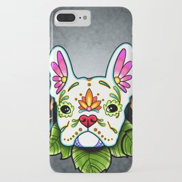 French Bulldog in White - Day of the Dead Sugar Skull Dog iPhone Case