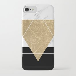 Golden marble deco geometric iPhone Case