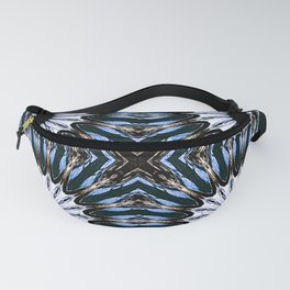 Blue Brown Etched Pinwheel Flowers Fanny Pack