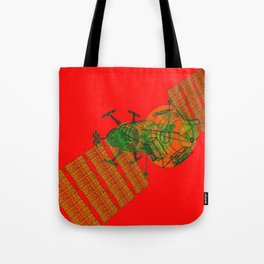 Explorer Schematic Warped Green on Red Tote Bag