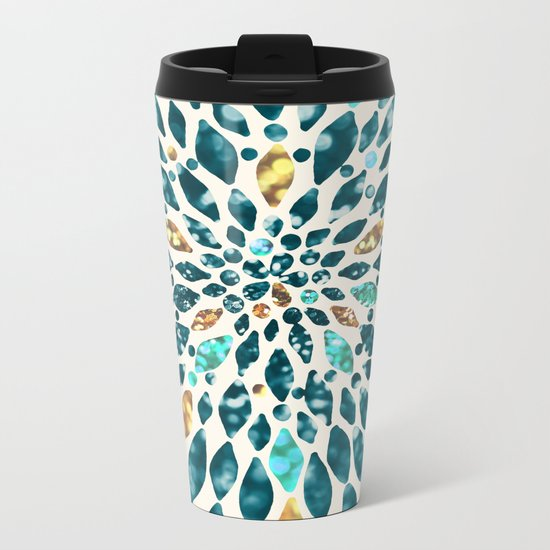 Glitter Dahlia in Gold, Aqua and Ocean Green Metal Travel Mug
