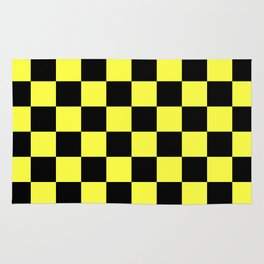 Black and Yellow Checkerboard Pattern Rug