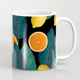 Lemons And Oranges On Black Coffee Mug