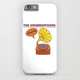 The Grammarphone - Funny Gramophone Wordplay iPhone Case