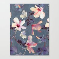 cow Canvas Prints featuring Butterflies and Hibiscus Flowers - a painted pattern by micklyn