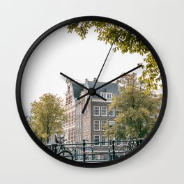 Bridge of Amsterdam, the Netherlands || Colourful travel photography Cityscape Buildings Architecture Wall Clock