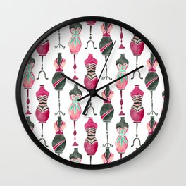 Vintage Dress Forms – Pink & Black Palette Wall Clock